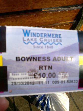 Bowness-on-Windermere, UK: Ticket price