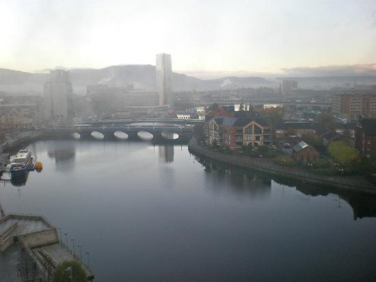 Hilton Belfast: View on a foggy morning