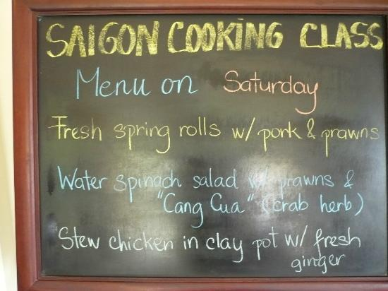 Saigon Cooking Class: the menu