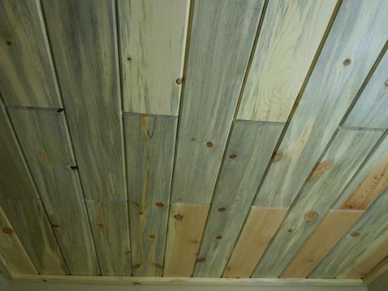 State Game Lodge: Pine beetle ceiling in motel room