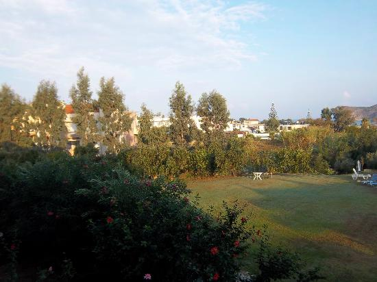 Mirabello Apartments: View across gardens from room 3