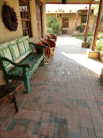 Quiet sitting area around the courtyard at the Gage Hotel