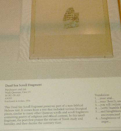 Oriental Institute Museum : Dead Sea Scroll Fragment, Wadi Qumran, West Bank, 50 BC-50 AD