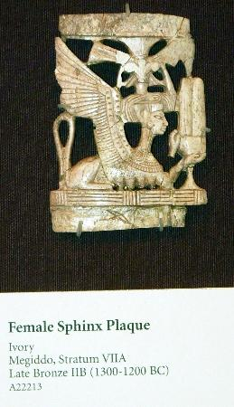 Oriental Institute Museum: Ivory Female Sphinx Plaque, found at Tell Magiddo, Biblical Armageddon, 1300-1200 BC, Israel