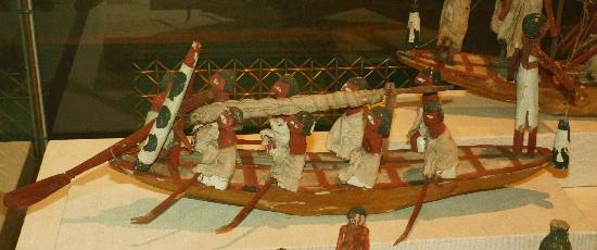 Oriental Institute Museum: Funerary Model of Sail Boat & Crew to Provide Dead with Transportation in the After-Life, Egypt