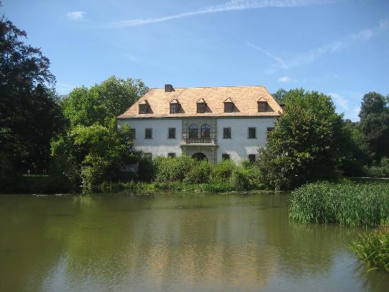 Saxony, Germany: Restored building by lake