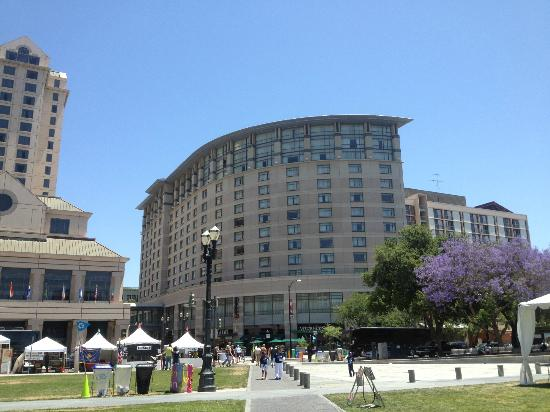 The Fairmont San Jose: the hotel is on the left, there was a festival in front, hence the tents