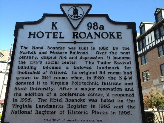 The Hotel Roanoke & Conference Center, Curio Collection by Hilton: Historic Marker