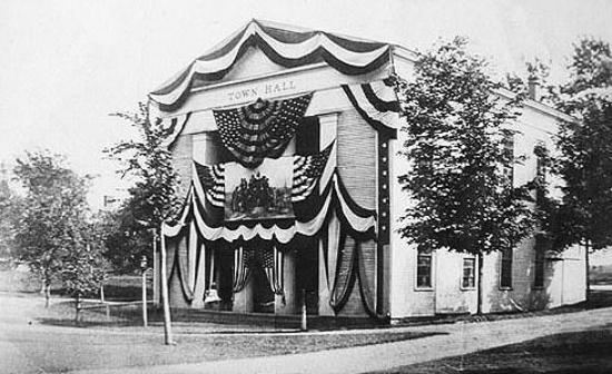 Sandwich Town Hall: Decorated for the 250th Anniversary Celebration in 1889
