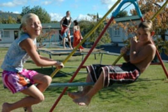 Cleveland Thermal Motel: Large playground area with new trampolines & swings set well back from road.