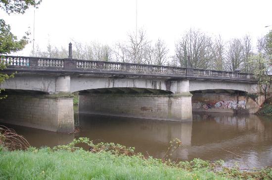 River Taff のビュートパークから上流の橋の風景
