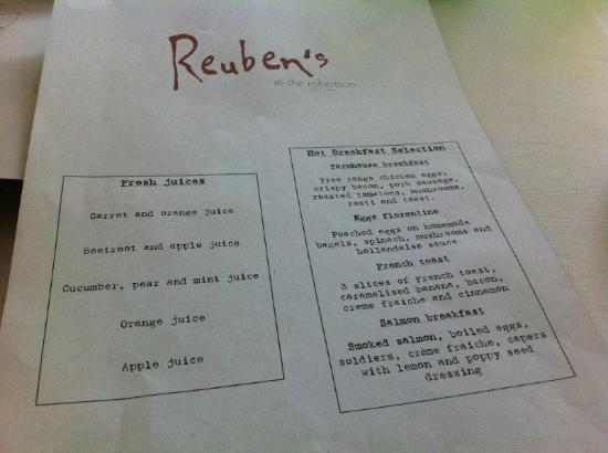 The Robertson Small Hotel: Rubens menu