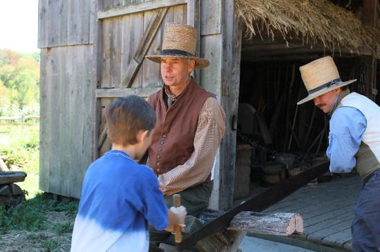 Old Sturbridge Village: Grandson had a chance to saw wood!