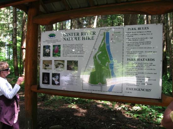 ‪‪Salmon Point Resort RV Park & Marina‬: Oyster River nature hike map & directive
