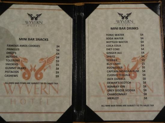 The Wyvern Hotel Punta Gorda: mini bar menu