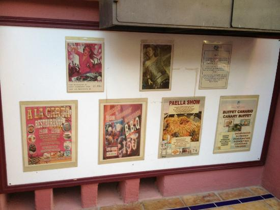 Marino Tenerife: Posters of all the entertainment shows taking place every night at the hotel