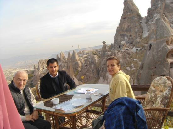 Hermes Cave Hotel: Us & the host Cem, on Konak Terrace