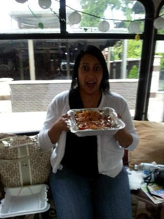 City Taste Tours: A guest showing off her Hot Brown!