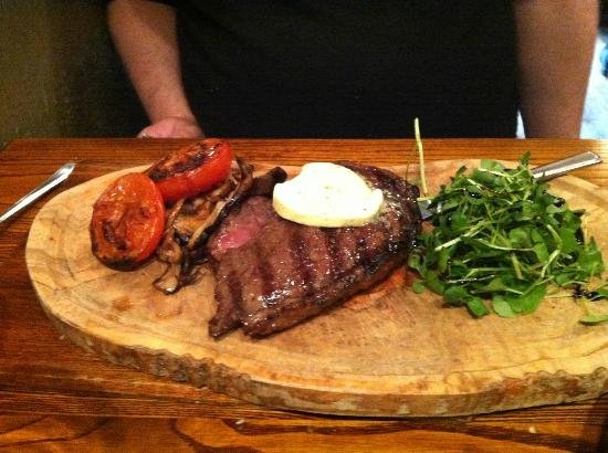 The Rowbarge: rump steak with horseradish butter, wild mushrooms etc