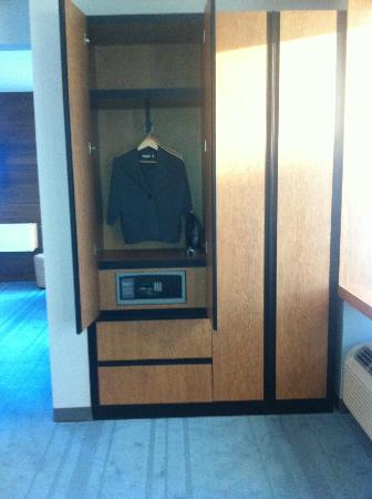 Aloft Asheville Downtown: Love the closets! Very clean and modern looking when the doors are shut.