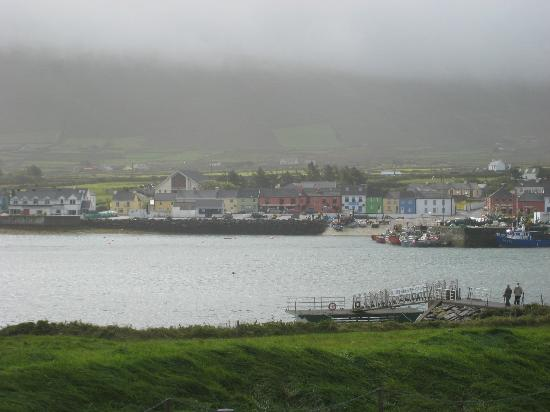 The Moorings Guesthouse: View of Portmagee from Valentia Island, Moorings Guesthouse visible in the distance