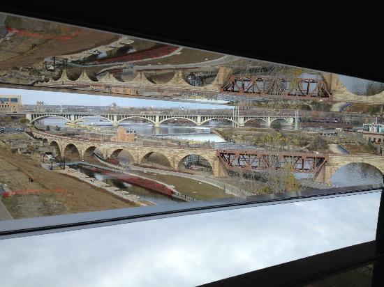 """Guthrie Theater: View from """"Endless Bridge"""" at the Mississippi River and Stone Arch Bridge"""