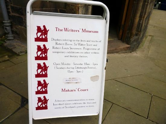 Writers' Museum: Opening times and other details