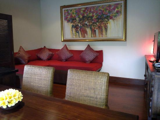 Bidadari Private Villas & Retreat - Ubud: groundfloor sitting with plasma tv on the side