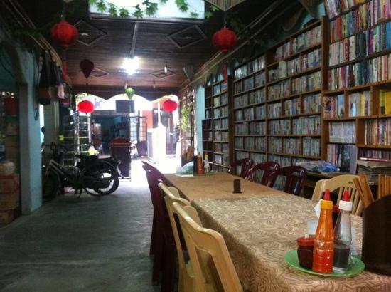 Minh Hien Vegetarian Restaurant: the amazing selection of books at the restaurant owners shop
