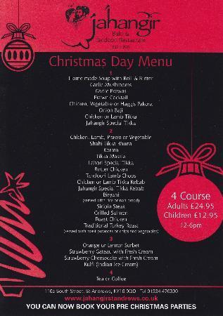 Jahangir Balti & Tandoori Restaurant: Christmas Day menu