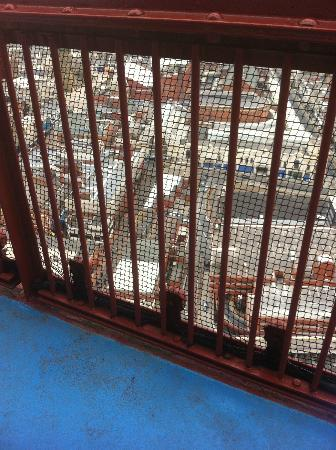 The Blackpool Tower: Looking through the safety fence & mesh