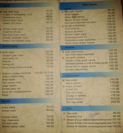 Menu Card Picture Of Hotel Corbelli Pondicherry Tripadvisor