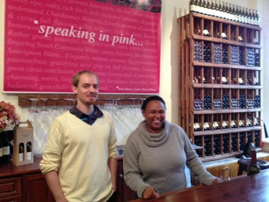 Constantia Uitsig Wine Estate : Loved the staff in the tasting room! Brightened our rainy day!