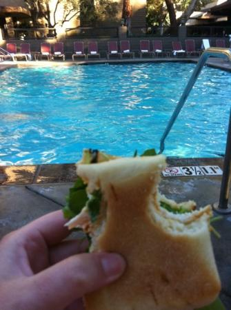 The Garland : sitting by the pool eating the places food.