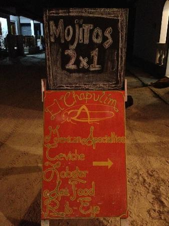 El Chapulim: Outdoor sign, look for it!