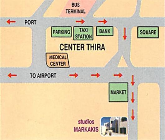 Markakis Studios Fira: city map to Markakis studios