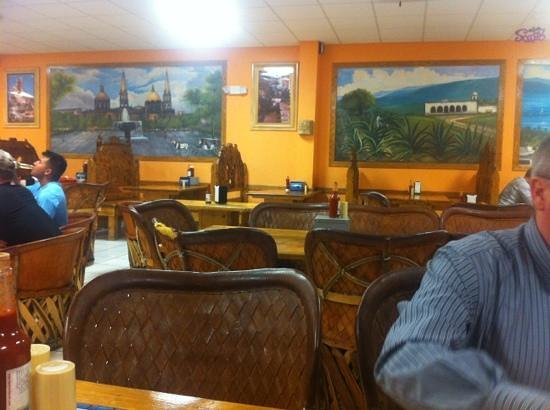 Tacos Jalisco: the artwork is painted on the wall and is all painted at an angle.