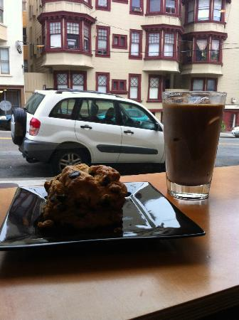 Contraband Coffee Bar: Iced Mocha and Chocolate Chip Scone (HUGE!)