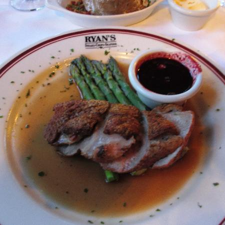 Ryan's Steak Chops & Seafood: Crispy Duck Breasts with spicy Blackberry and Currant Compote