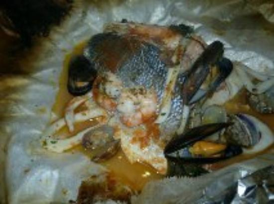 Vesuvius: Gorgeous Seabass fillets with seafood sauce