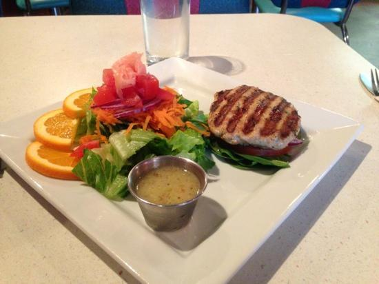 Rowan Moon Bistro: Lunch time burger (pork) without bun, (my choice) with salad.