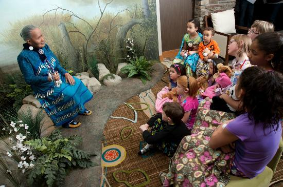 Mount Pleasant, MI: Gather the children for a nighttime story with Nokomis, a storytelling grandmother in the lobby.