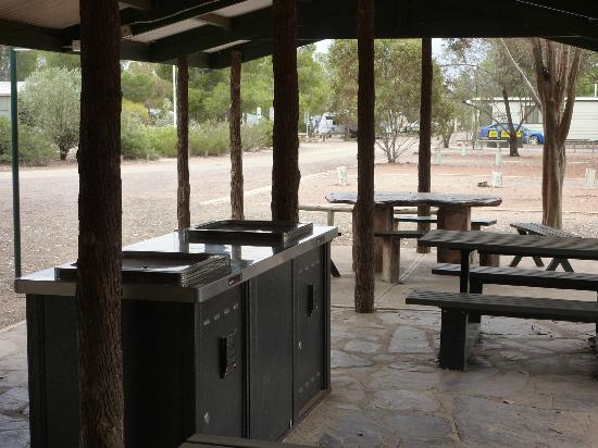 Hawker Caravan Park: Barbecue area, with a selection of built in and stone tables