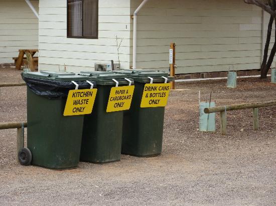 Hawker Caravan Park: The three bins for the Caravan Park - recycling is environmentally friendly