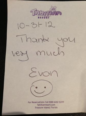 The Tahitian Resort Treasure Island: a nice little note!!