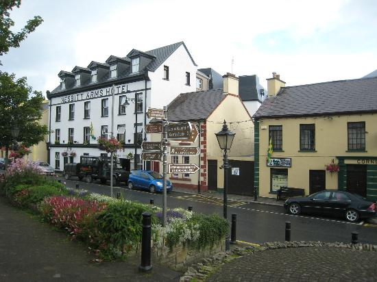 Nesbitt Arms Hotel, an exterior shot of its location on the main road in lovely Ardara