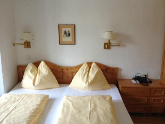"Hotel Weisses Kreuz: ""Bunny ears"" pillows, signature Austrian look"