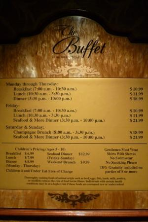 Golden Nugget Buffet : TARIFS