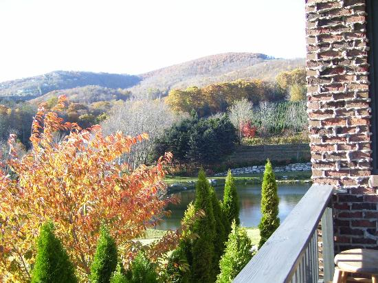 Banner Elk Winery & Villa: Fall foliage and view from the porch