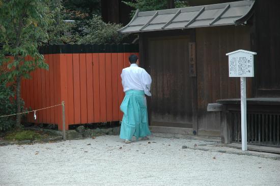 Shimogamo Jinja: A young intern priest.